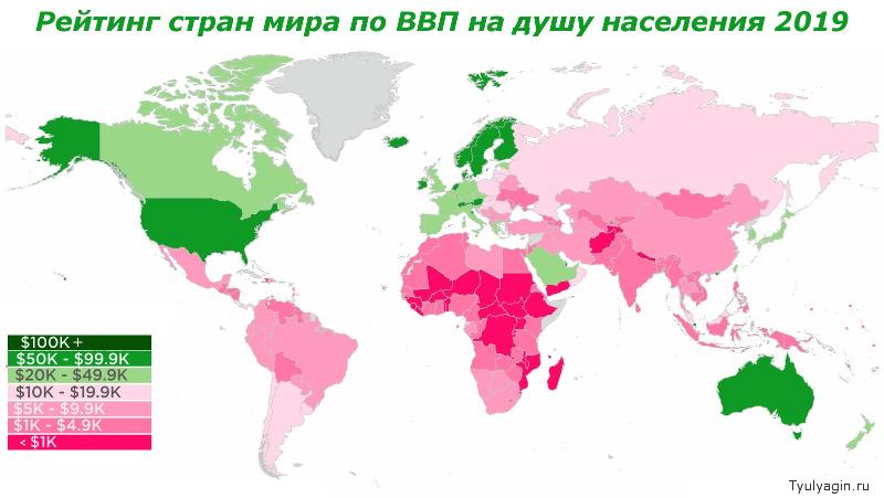 Рейтинг стран мира по ВВП на душу населения 2019 года