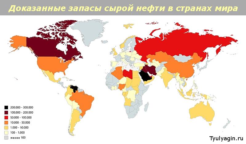 Крупнейшие запасы нефти по странам мира
