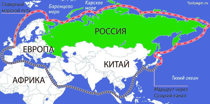 Северный Морской Путь - грузооборот, перспективы развития и порты на карте