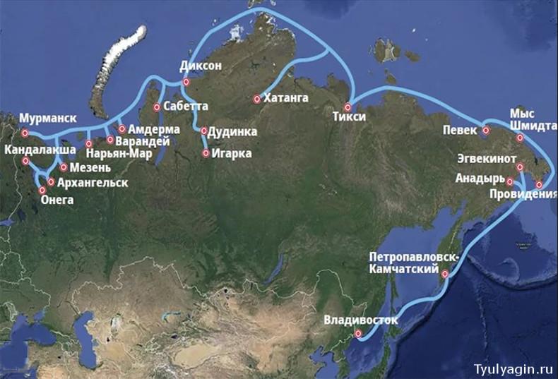 северный морской путь на карте с портами