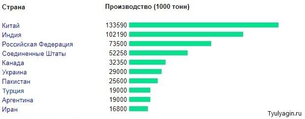 Топ 10 стран по производству пшеницы 2020 год