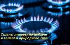 Страны лидеры по добыче и запасам природного газа в мире