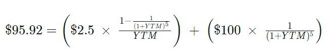 Пример расчета доходности к погашению YTM