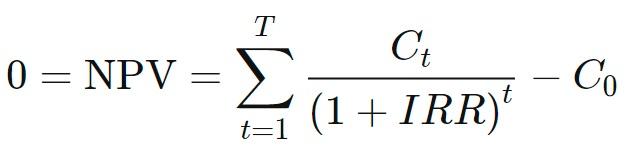 формула расчета внутренней нормы доходности IRR